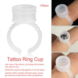 $enCountryForm.capitalKeyWord Australia - 100pcs M Disposable Tattoo Ink Rings Clear Eyebrow Lip Tattoo Pigment Ink Cup Holder Container Permanent Makeup Rings