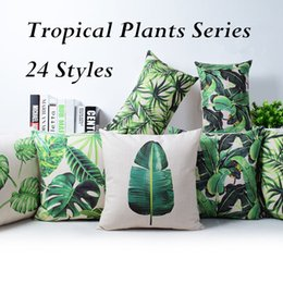 Wholesale 24 Styles Tropical Plants Floral Series Pillow Case Green Plam Tree Leaves Birds Printed Linen Cushion Cover quot NNA501