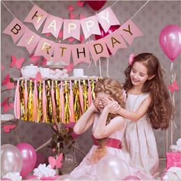 Venta al por mayor de 5color Glitter Feliz Cumpleaños Bunting Banner Letras de Oro Colgando Guirnaldas Pastel Rosa Bandas de la secuencia Fiesta de bienvenida al bebé Decoración