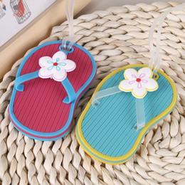 0988e1349 Wholesale Flip Flops Wedding Canada - 100pcs Flip Flop Shape Luggage Tag  Trunk Cards Strip Suitcase