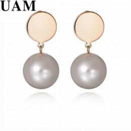 $enCountryForm.capitalKeyWord NZ - Brand Designer Imitation Pearl Earrings For Women Gold Color Round Coin Drop Earrings Wedding Bride Fashion Jewelry
