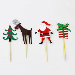 Chinese  24pcs lot Christmas Heart Cake topper pick Toppers Party Supplies Birthday Wedding Cupcake Decorating toothpick inserted card manufacturers