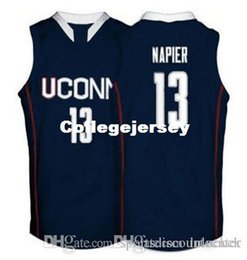 Factory Outlet Connecticut Huskies  13 Shabazz Napier Basketball Jerseys  white navy blue Embroidery Stitched Personalized Custom any size na b185273d7