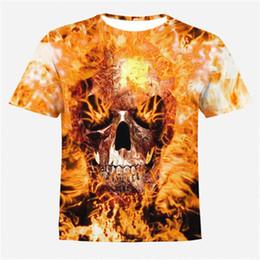 66cbcb020dcf 2018 Male 3d T-Shirts Own Design Fire Skull Print Monster 3D Print Both  Side Hip Hop Short Sleeve Tshirt Plus Size 4XL