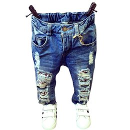 Girls Trousers Wholesale Australia - New 2018 Baby Girls Boys Jeans Fashion Broken Hole Kids Jeans For Girls 1-7Yrs Kids Boy Denim Pant Trousers Clothes