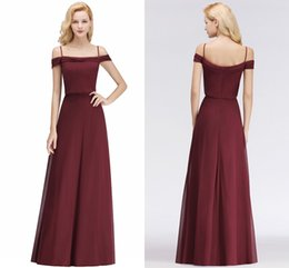 Wholesale New Burgundy Cheap Bridesmaid Dresses Sexy Spaghetti Straps Wedding Guest Dress Maid of Honor Gowns Brautjungfer Kleider BM0036