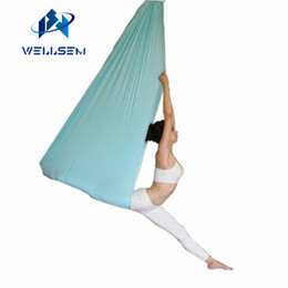 Discount aerial yoga hammock - 5 meter top quality Flying Yoga Anti-Gravity yoga hammock Swing fabric Aerial Traction Device for for stadium