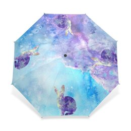 bumbershoot umbrella UK - Creative Fantastic Animal Children Umbrella Rain 3 Folding Cute Gilr and Rabbit Umbrella Fashion Portable Foldable Bumbershoot
