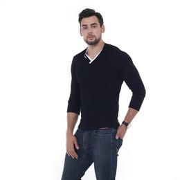 Wholesale mens long v neck t shirts for sale – custom Brand New Long Sleeve Solid T Shirt V Neck Collar Slim Men T Shirt Tops Fashion Mens Tee Shirt T Shirts xl