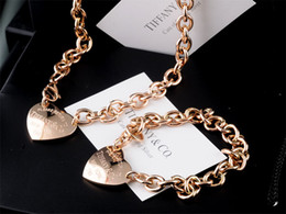 Onyx Silver Bracelet Australia - High Quality Celebrity design Letter 925 Silver Rose Gold bracelet necklace Silverware Fashion Metal Heart-shaped Jewelery Set 2pc With Box