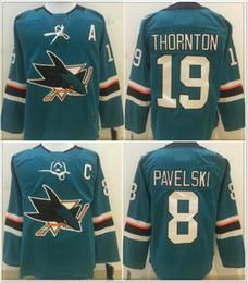 Team Hockey Uniforms NZ - New San Jose Sharks #8 Joe Pavelski 19 Joe Thornton Mens Ice Hockey Shirts Pro Sports team Jerseys Cheap Uniforms Retro Stitched Embroidery