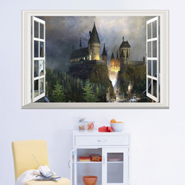Design Glasses For Kids Australia - Removable Castle wall stickers for kids 3D window view wall decal Magic College Castle Wall Stickers Decor Art Mural Wallpaper 50*70cm