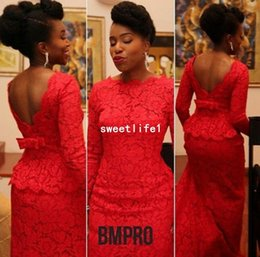 Sexy Picture Style NZ - 2018 Aso Ebi Style Red Mermaid Evening Dresses Bateau Neck Long Sleeve Sexy Backless Court Train Africa Formal Occasion Prom Dresses