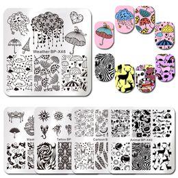 Cartoon Stamping Australia - BORN PRETTY Unicorn Square Nail Stamping Plates Cute Rain Cartoon Animal Patterns Nail Art Image Template for Manicure DIY