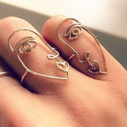 Hollow Fingers Australia - 2ps set 2018 New Ethnic Geometry Hollow Human Face Rings Fashion abstract art Knuckle Fingers Rings for Women Jewelry Gifts