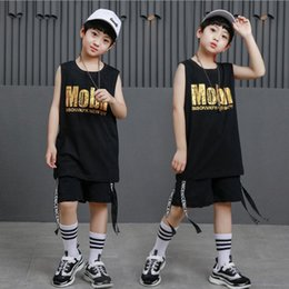 $enCountryForm.capitalKeyWord NZ - Black Kid Loose Cotton Ballroom Jazz Hip Hop Dancing Competition Costumes T Shirt Tops Shorts for Girl Boy Dance wear Outfits