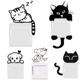 Large mouse waLL stickers online shopping - DIY Funny Cute Black Cat Dog Rat Mouse Animls Switch Decal Wall Stickers Home Decals Bedroom Kids Room Light Parlor Decor