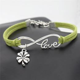 $enCountryForm.capitalKeyWord Australia - New Design Infinity Love Four Leaf Clover Plant Flower Pendant DIY Charm Bracelets Green Leather Suede Brand Bangles for Womens Mens Jewelry