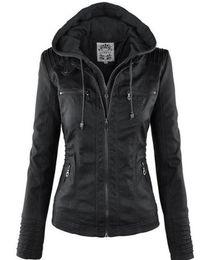 Jacket removable sleeves online shopping - Slim Women Jackets Female Hat Removable Women Basic Coats Waterproof Windproof Denim Women s Faux Leather Jacket Long Sleeve
