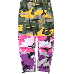 China 2018 NEW Camo vertical stripes Patchwork Cargo Pants Men's Hip Hop Casual Camouflage Trousers Fashion Joggers Sweatpants 8 Color cheap camouflage trousers brown suppliers