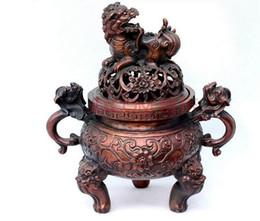 $enCountryForm.capitalKeyWord UK - Chinese Temple Copper Brass Coin Dragon Beast Lion Head Incense Burner Censer