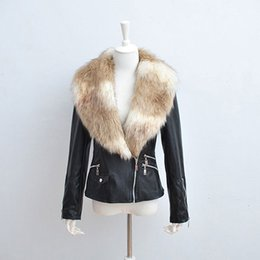 loose tassels UK - Black Leather Motorcycle jacket coat, Winter Autumn New women's Gothic Short Faux Leather fur collar