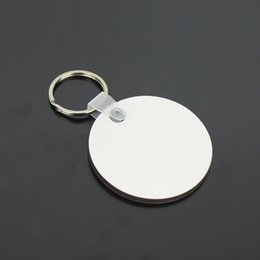 Logo Promotional Gift NZ - Wholesale 10pcs Circle MDF Blank Key Chain Sublimation Wooden Key Ring For Heat Press Transfer Photo Logo Promotional gift-free ship
