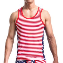 $enCountryForm.capitalKeyWord NZ - Mens US Flag Printed Undershirts Stretchy Tight Underwear Star Striped Tank Tops Males Breathable Cotton Vest Homewear Hot Sale