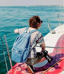 $enCountryForm.capitalKeyWord Australia - Unisex Vintage Washed Denim Jean Rucksack Shoulder School Bag Boys Girl Travel Matching Backpack 2 Colors