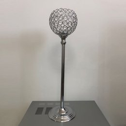 Silver Candle Holders Wholesale NZ - 10pcs lot 60cm tall gold and silver color crystal beaded candle holder ball wedding table centerpieces crystal decor for event party