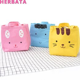 Wholesale Portable Cute Lunch Box Storage Bag with Handle Waterproof canvas Cloth Lunch bag Student Office picnic YC