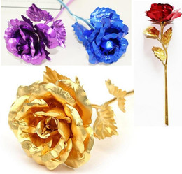 China Romantic 24K Plating Golden Rose Flower Gold Foil Plated Artificial Wedding Festive Party Valentine Day Gift c251 suppliers