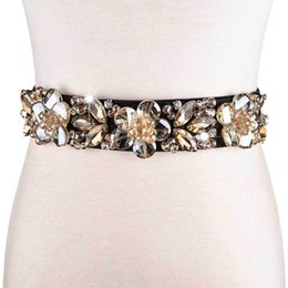 $enCountryForm.capitalKeyWord Australia - European Ladies Rhinestone Dress Belt Women Crystal Flower Bead Waistband Fashion Elastic Waist Belt Female Corset Girdle Belts