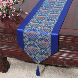 Damask Party Decorations NZ - Ethnic Seawater Chinese Silk Satin Table Runner Christmas Party Table Decoration Damask Table Cloth Rectangle Dining Mat Placemat 200x33 cm