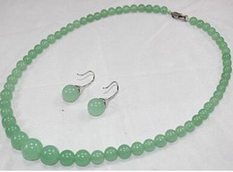American Brass Lighting Australia - Free Shipping lady's charming 6-12mm light green Natural Stone necklace and 8mm light green earrings sets 002