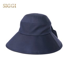 SIGGI Vintage Bucket Hats For Women Solid Flat Back Cute Bowknot Soft  UPF50+ UV Windproof Chin Cord Gorras Sun Caps Female 99049 5eb86aaa0e2c