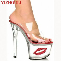 8885d03f5966 2018 Sexy Crystal Shoes 17cm Ultra High Heels Exotic Dancer Lips Platform  Slippers Night Club 7 Inch High Heels