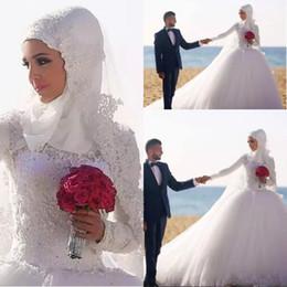 $enCountryForm.capitalKeyWord Australia - 2018 Vintage Long Sleeves Muslim Wedding Dresses Arabic Dubai Style Ball Gown Lace Appliques Puffy Tulle Chapel Train Bridal Gowns Formal