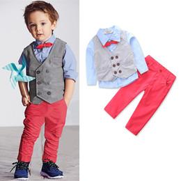 Spring Waistcoat Canada - Kids Clothing Boys waistcoat + tie shirt + trousers 3 pieces set Baby Boy Clothes 2T-7T Boys Clothes Sets DHL LA656