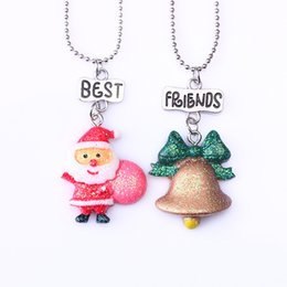 """Best Gift For Xmas Australia - 2PCS Pair """"Best Friends"""" Xmas Jingle Bell & Santa Claus Necklaces Kids Necklace For Children Jewelry Birthday Chirstmas Gifts"""