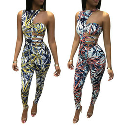 digital print jumpsuit NZ - New Women Summer Casual Digital Print Jumpsuit One-Shoulder Sleeveless Top Long Pants Jumpsuits Skinny Ladies Romper Waist Hole Plus Size XL