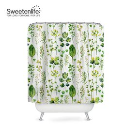 Sweetenlife Pastoral Bathroom Curtain Designs Green Plants Waterproof Shower Hooks High Quality Bath Curtains Customize