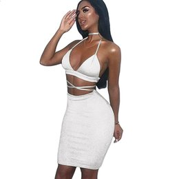 2063a2e7e8 Hot Summer Sexy Women Cami Two Piece Set Halter Strap Crop Top Bandage  Bralette Bodycon Midi Skirt Set Party Nightclub Outfit
