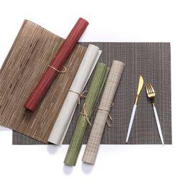 $enCountryForm.capitalKeyWord UK - 4Pcs set New Like Bamboo Woven PVC Placemats Non-slip Table Mat Dish Pads Bowl Pad Coasters Heat Insulate Table Cloth Pad Decor