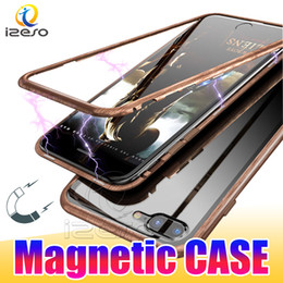 Discount wood bumper case - For iPhone Xs X 8 7 Plus Wood Design Magnetic Adsorption Phone Case Metal Bumper Tempered Glass Clear Back Cases Slim Ph
