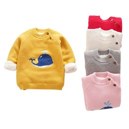 Wholesale cute cartoon sweater age for yrs toddler girls winter clothes autumn thick warm knits tops korean little girls sweaters