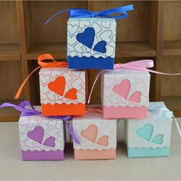 Candy Heart Gift Australia - 10pcs Love Heart Laser Cut Hollow Gift Candy Boxes Wedding Party Favor Gifts Bags With Ribbon Wedding Birthday Party Supplies