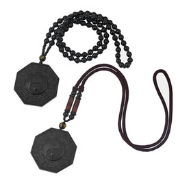 $enCountryForm.capitalKeyWord UK - Drop Shipping Natural High Quality Black Obsidian Yin Yang BAGUA Tai Chi Pendant Necklace Chinese Luck Women Men Jewelry