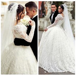 appliques style wedding dresses NZ - 2017 Lace Ball Gown Wedding Dress Arabic Style Appliques Sheer Plus Size Long Sleeves Wedding Dresses Bridal Gowns