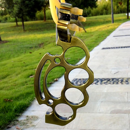 Wholesale Pieghevole Metal Boxing Thrust SlingShot Brass Knuckle Hunting Catapult Outdoor Giochi Tools con gomma di alta qualità